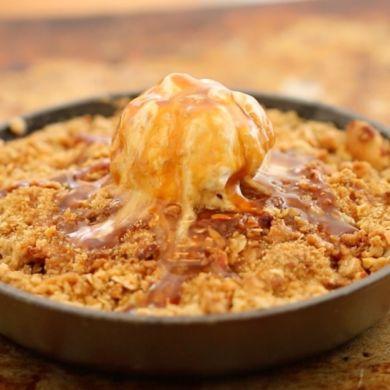 Caramel Apple Crisp with Cinnamon Ice Cream