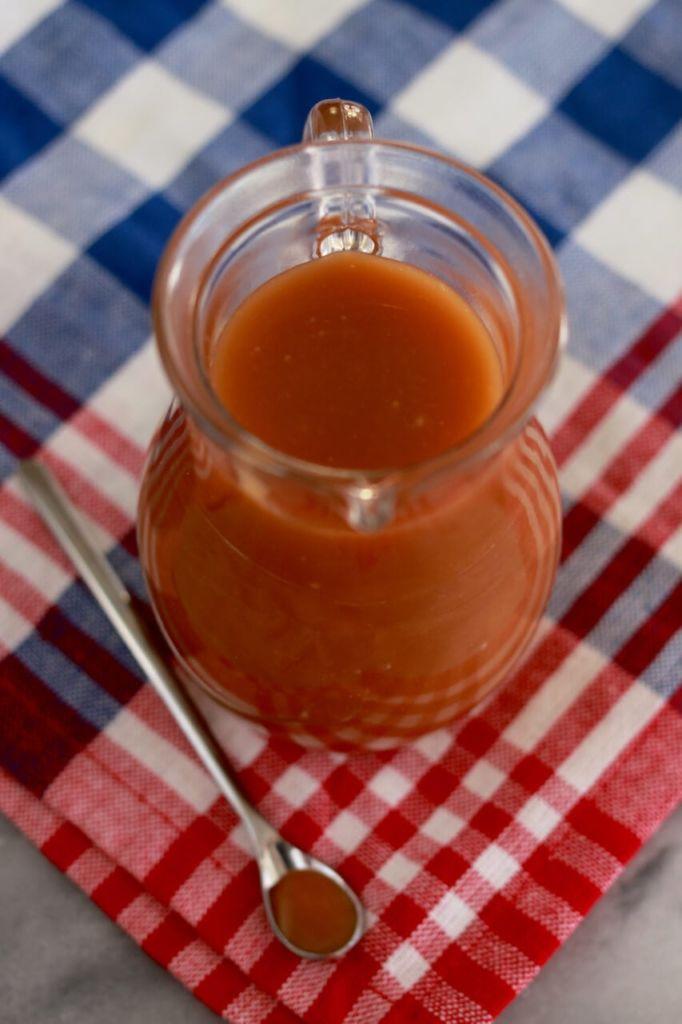 A jar of my homemade caramel sauce.
