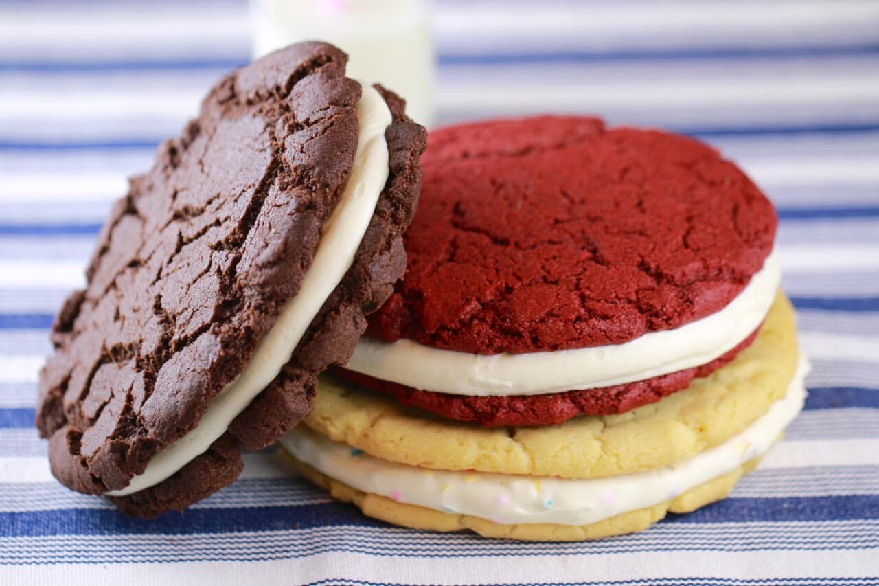 Giant Homemade Oreo Cookies from scratch (Chocolate, Red Velvet & Birthday Cake). Now you can make your favorite Oreo Cookies in no time at home.