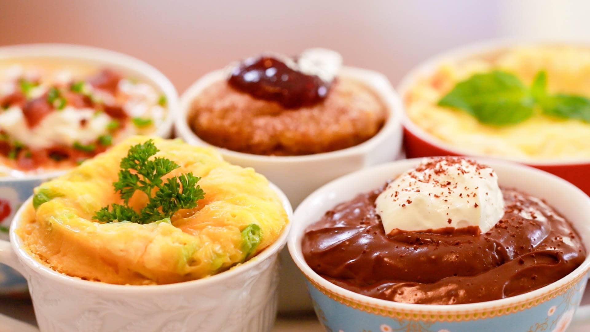 Microwave Mug Meals, Mug Meals, Mug Lasagna, Mug Donut, Mugnut, Egg MugMuffin, Mug Pudding, Chocolate Pudding, Gemma Stafford, Bigger Bolder Baking