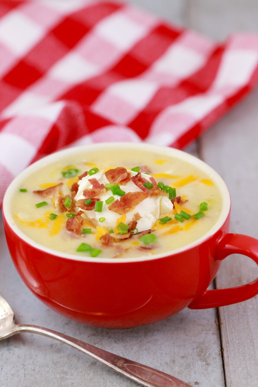 The Easiest Potato Soup recipe happens to be made in a mug, and this is what it looks like.