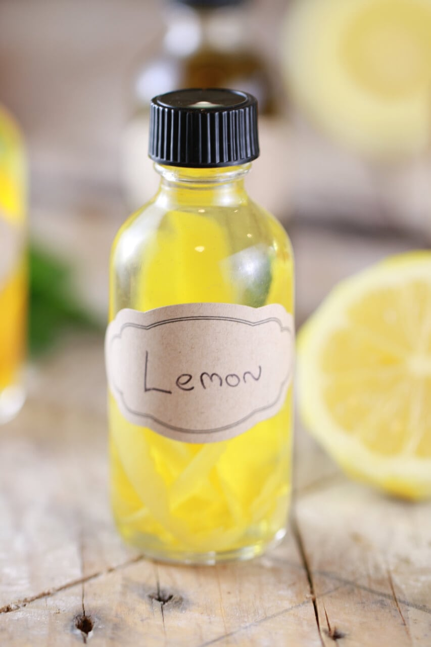 A bottle of pure lemon extract using my recipe.
