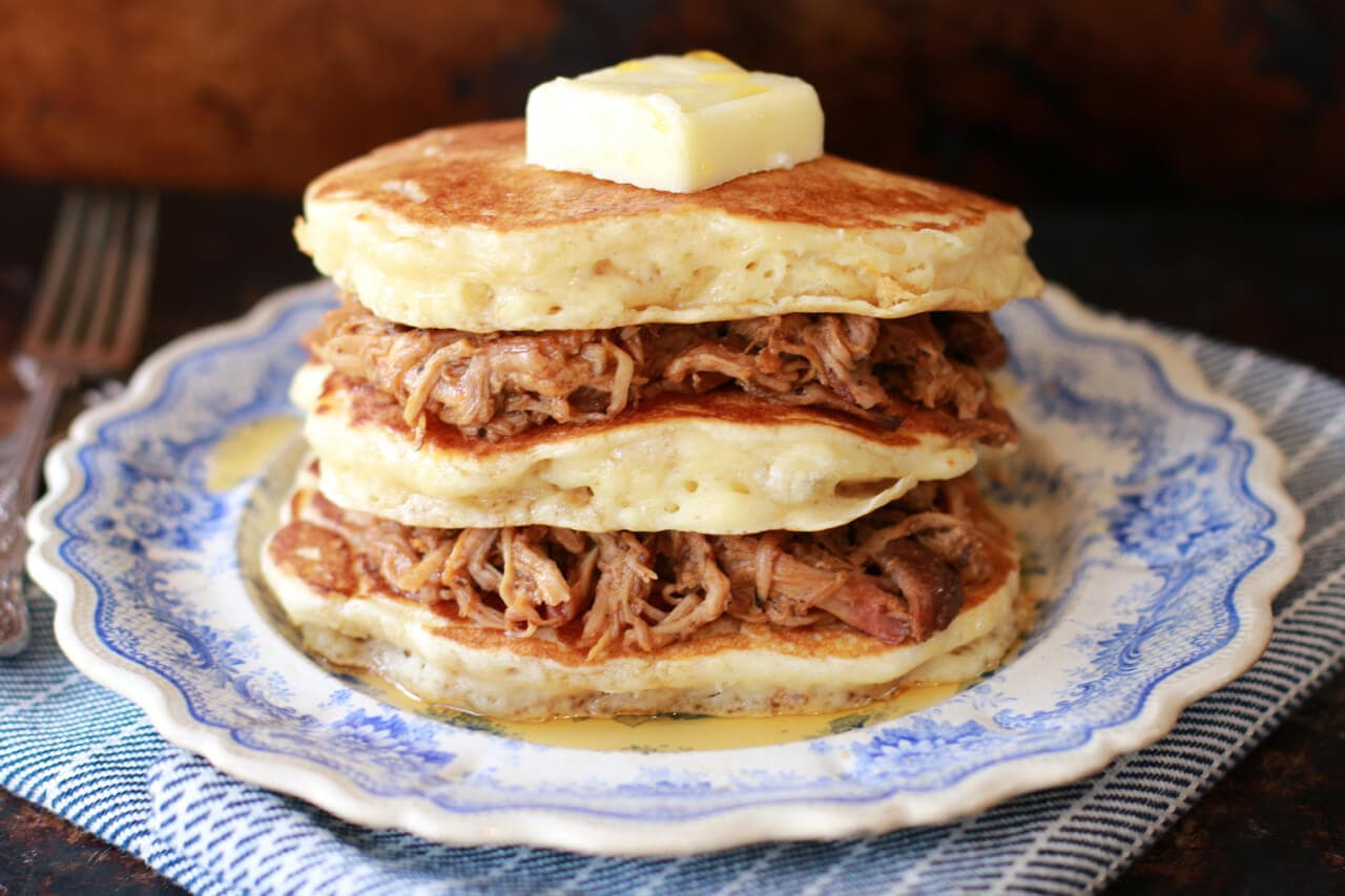 What is the perfect recipe for Father's Day Brunch? Pulled Pork Pancakes with Whiskey Maple Sauce of course!