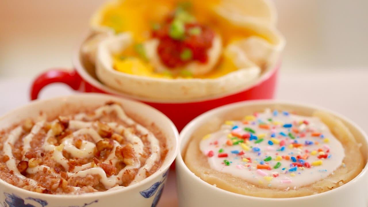 Microwave Breakfast in a Mug - Mugrito (Burrito in a Mug), Cinnamon Roll Oatmeal AND Pop Tart in a Mug. Breakfast will never be the same again.