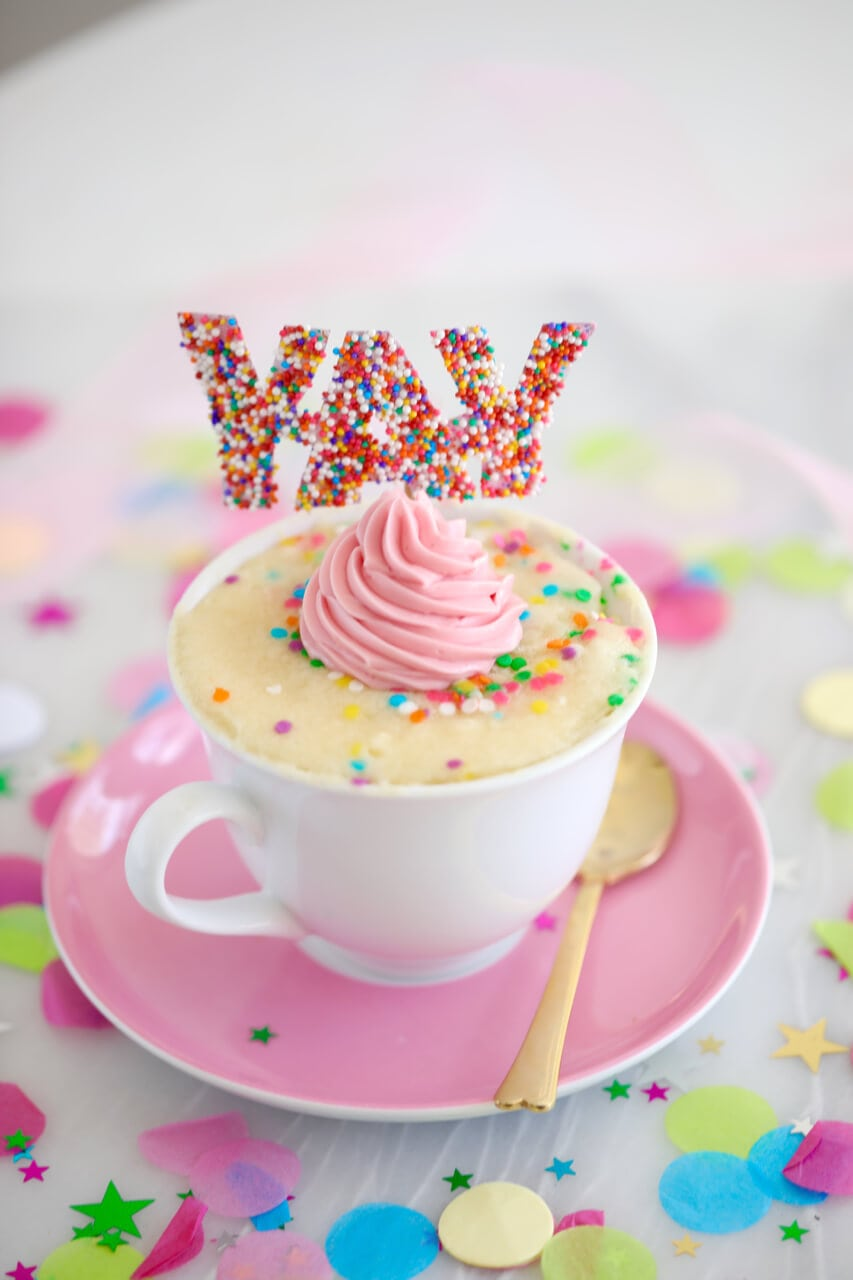 Celebration Vanilla Mug Cake Recipe Gemmas Bigger Bolder Baking