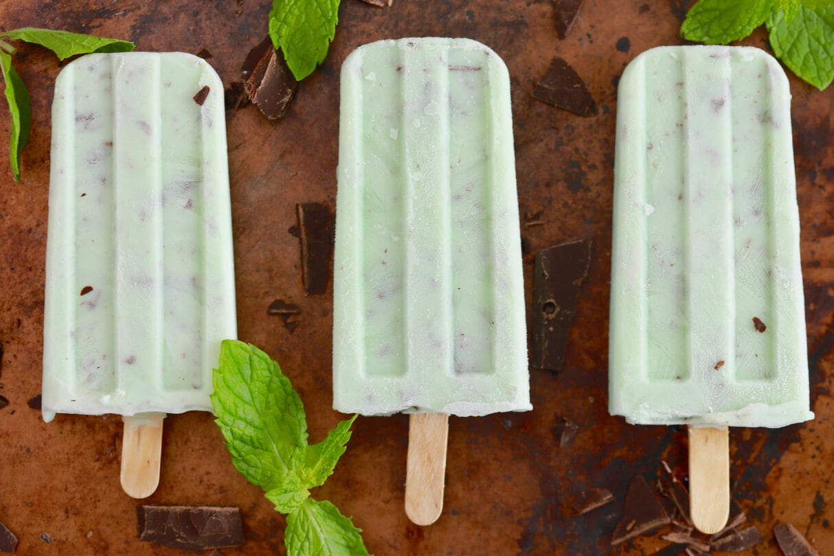 Mint Chocolate Chip Popsicles - A classic flavor that can now be enjoyed as a popsicle!