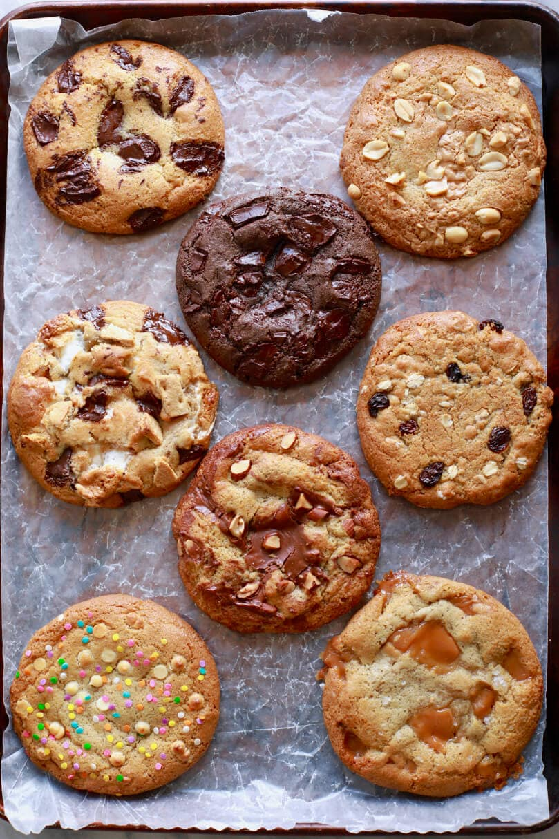 Chocolate Chip Cookie, Peanut Butter Cookie, Oatmeal Raisin Cookie, Birthday Cake Cookie, Chocolate & Hazelnut Cookie, Double Chocolate Chip Cookie, S'more Cookie, Salted Caramel Cookie, cookie recipes, cookie dough, best ever cookie recipes, best ever chocolate chip cookie, chocolate cookie recipe, crazy cookie dough, cookies, chocolate chip cookie recipe, best cookie recipe, cookie flavors, gooey cookies, chocolate recipes, recipes for kids, baking with kids, baking with children, kid friendly recipes, child friendly recipes, biscuit recipes, chocolate chip cookie dough, best ever recipes, easy recipes, easy cookie recipes, easy chocolate chip cookie recipes
