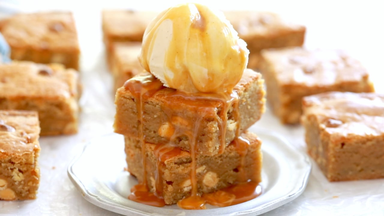 Make homemade blondies in a matter of minutes with my decadent, best blondies recipe.