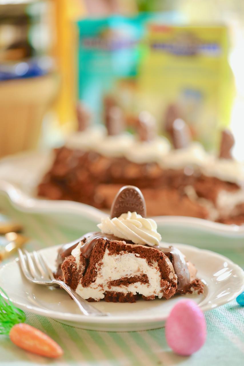 A slice of my 5-Ingredient Brownie Roll!