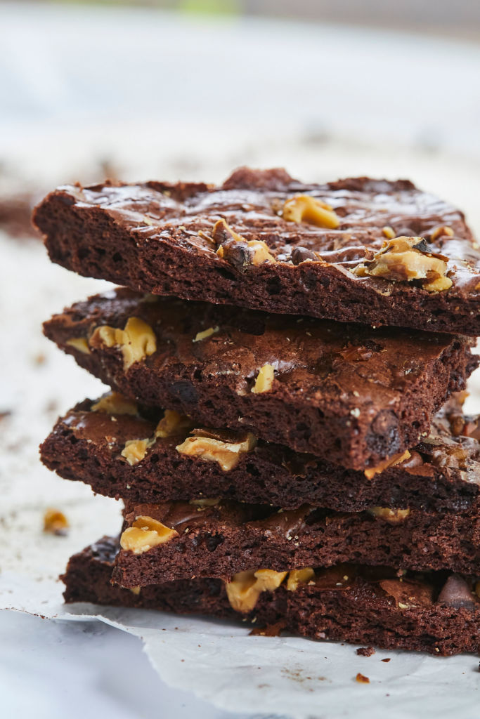 A close up of the brownie brittle you can make by following my How to Make Brownie Brittle guide.