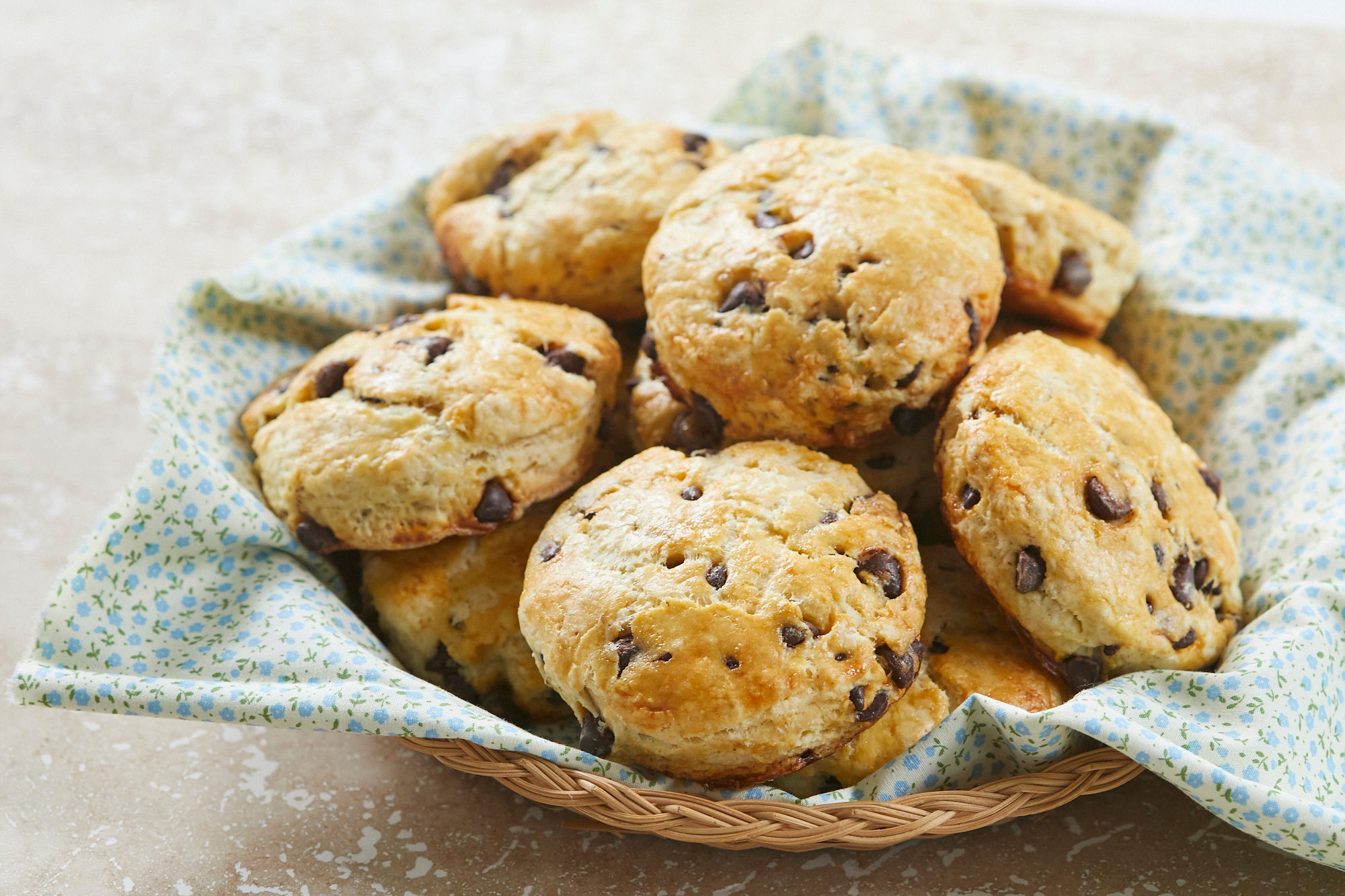 A basket of Easy Chocolate Chip Scones