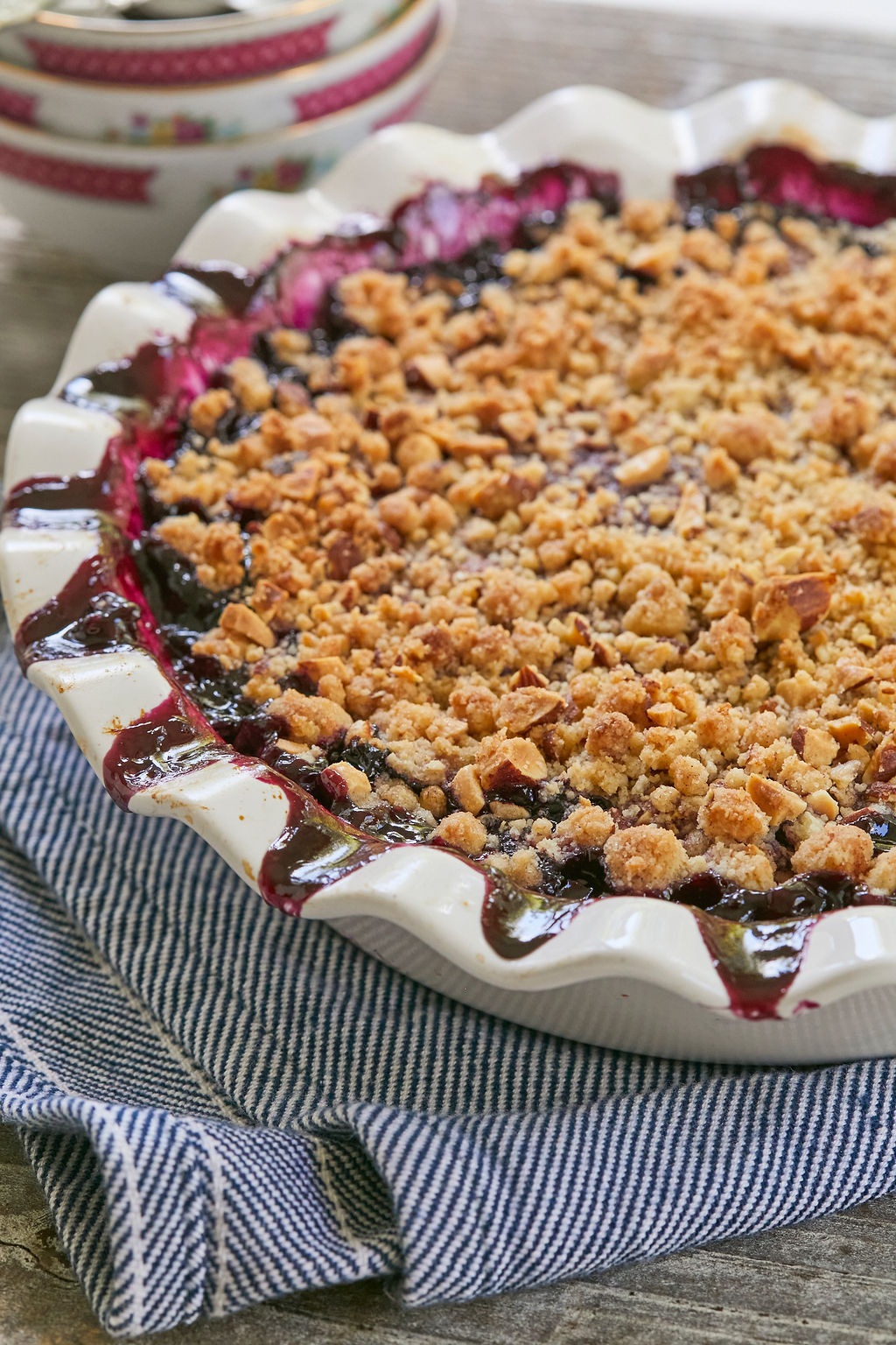 My finished Blueberry Crisp Recipe, with topping.