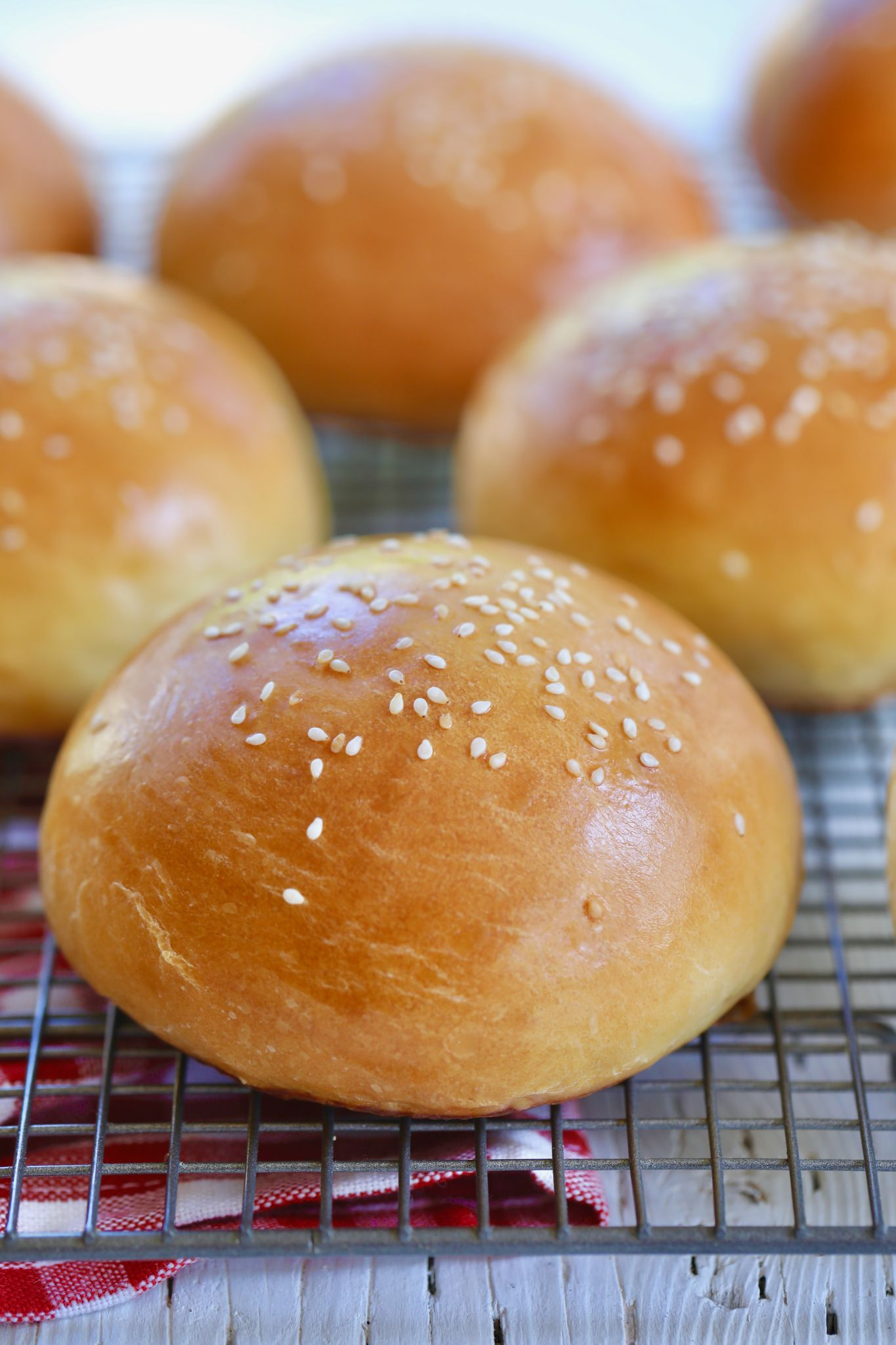 Brioche Buns baked and topped with sesame seeds.