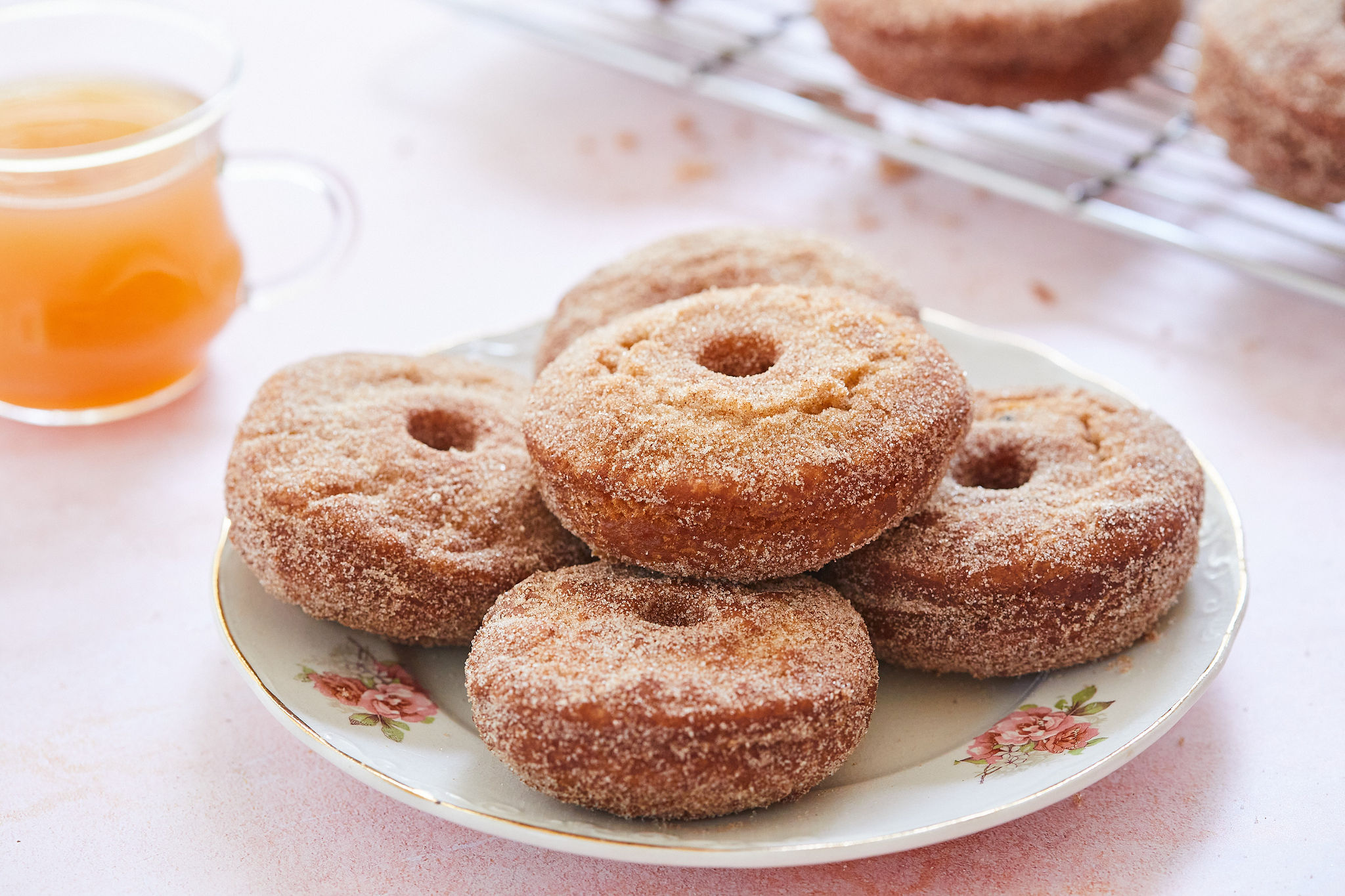 A lovely plate of apple cider donuts.