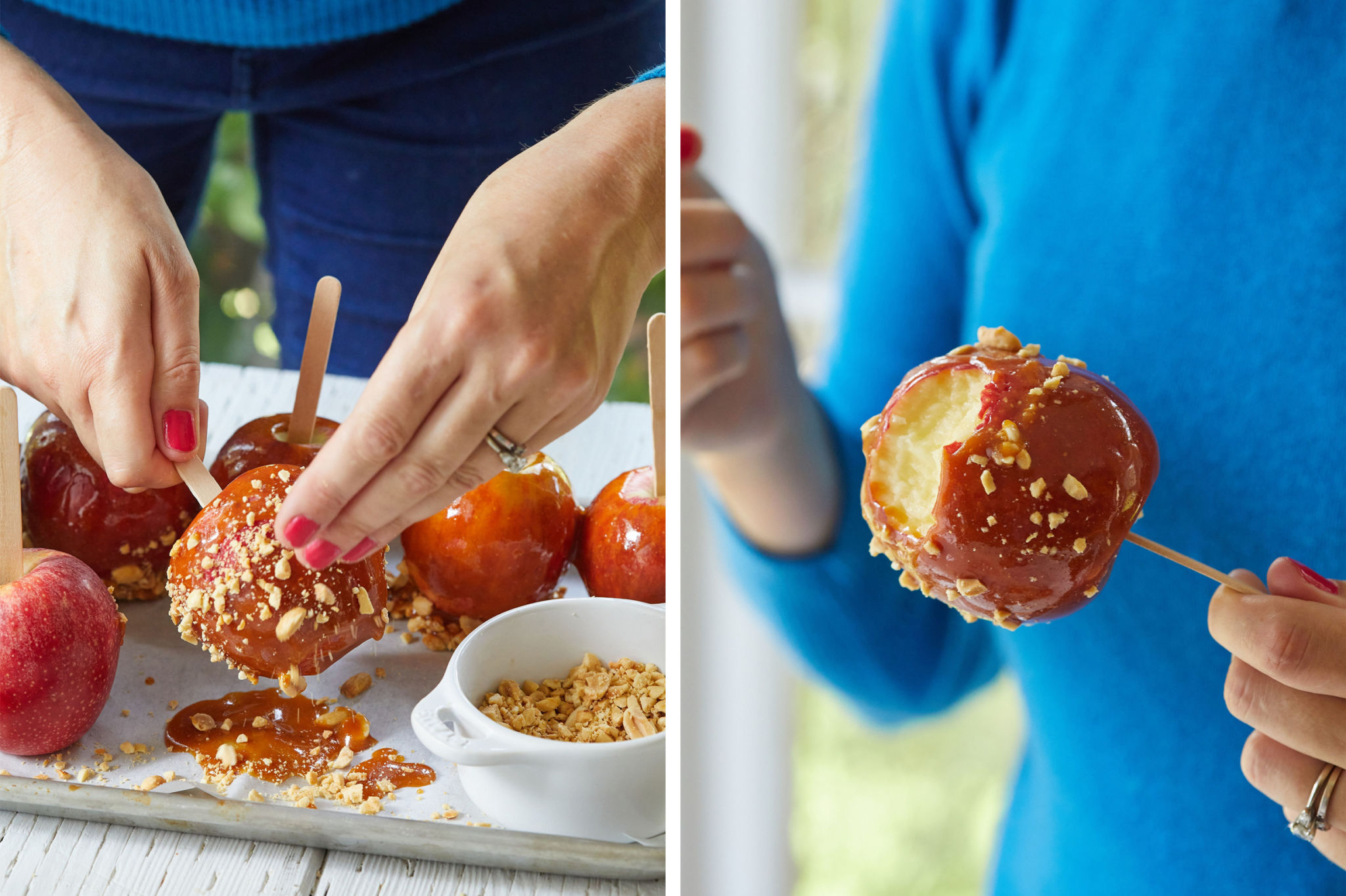 A side-by-side image of putting peanuts on a caramel apple and a caramel apple with a bite taken out of it.