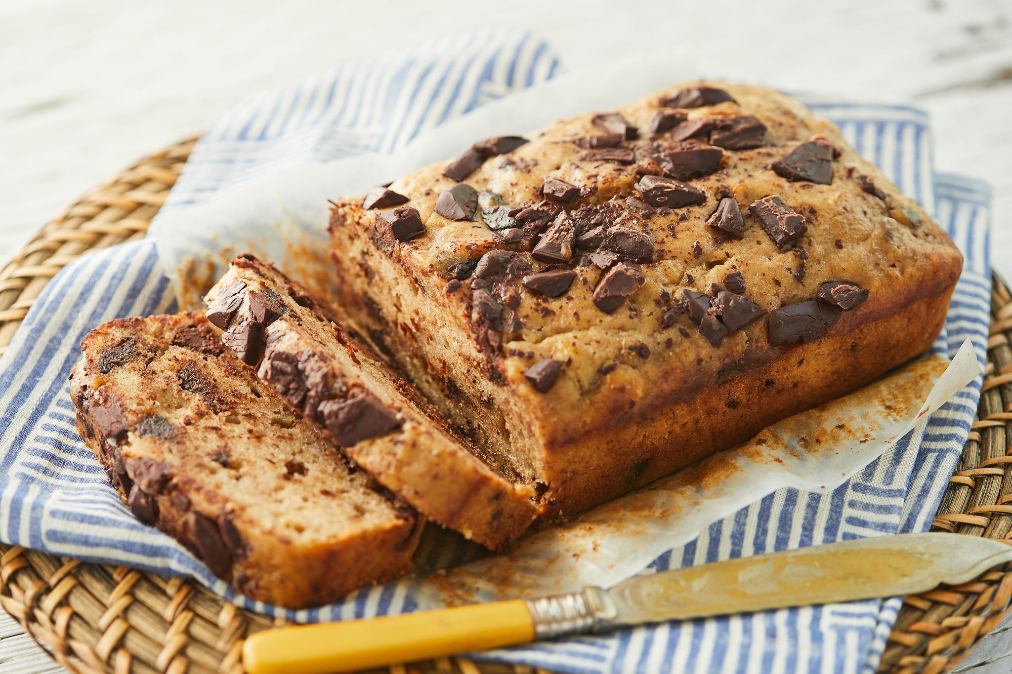Sliced chocolate chip banana bread, that you can make in the microwave.