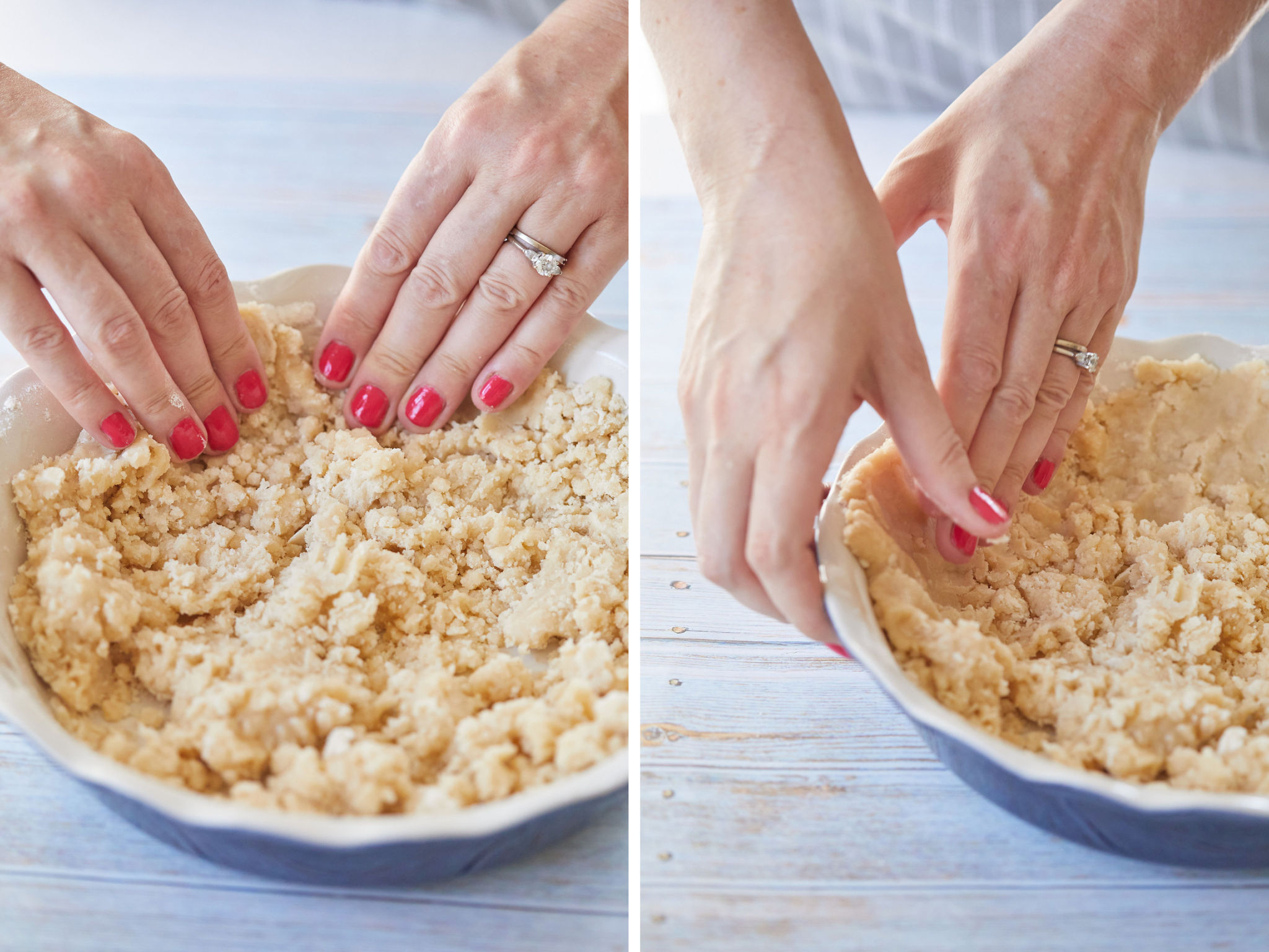 Step 2 and 3 of making a no-roll pie crust.