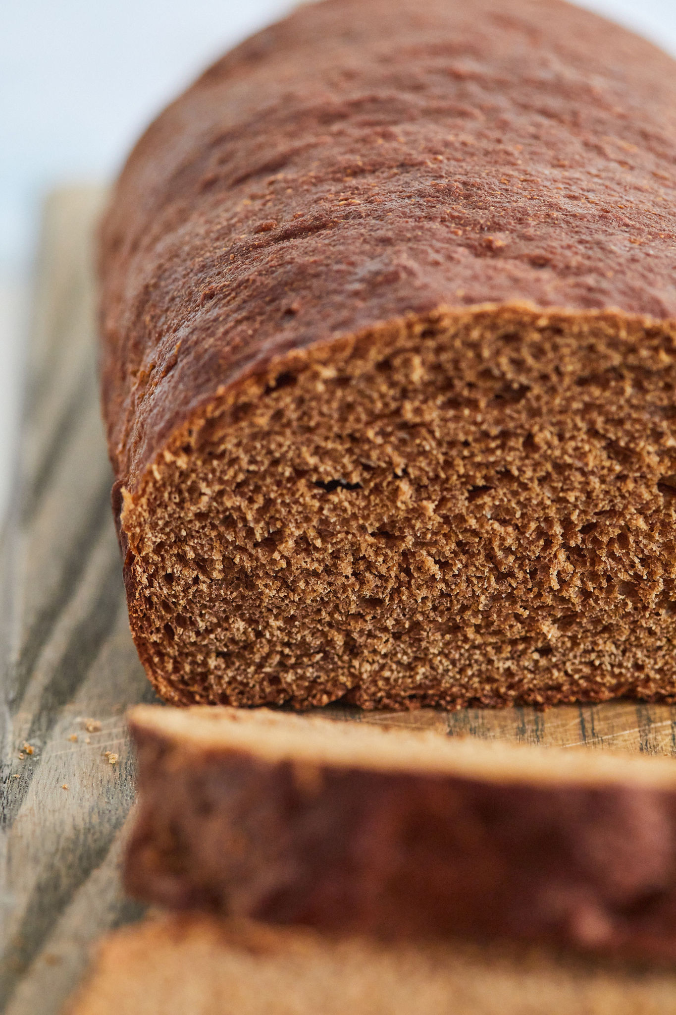 Close up of the crumb inside my steakhouse pumpernickel bread.