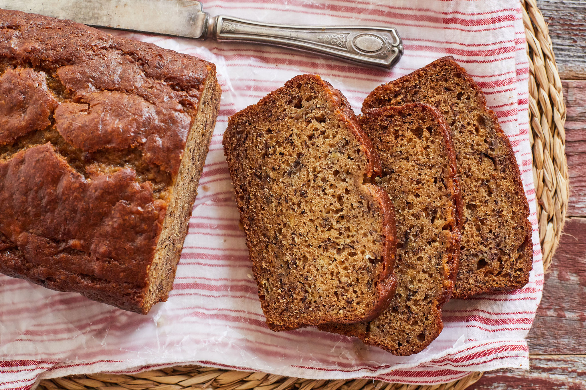 Slices of banana bread made with sour cream.
