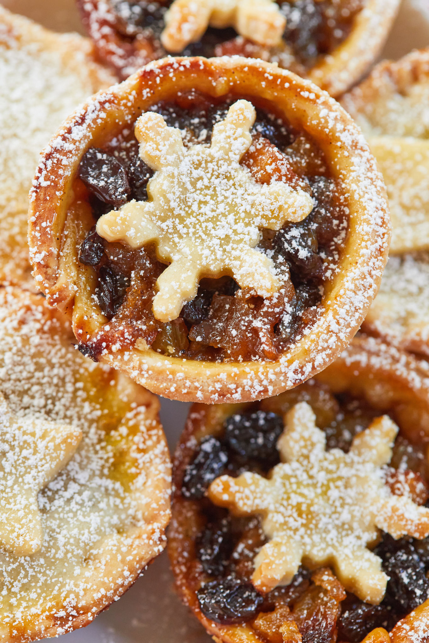 Homemade mince pies with my mincemeat recipe, dusted with powdered sugar.