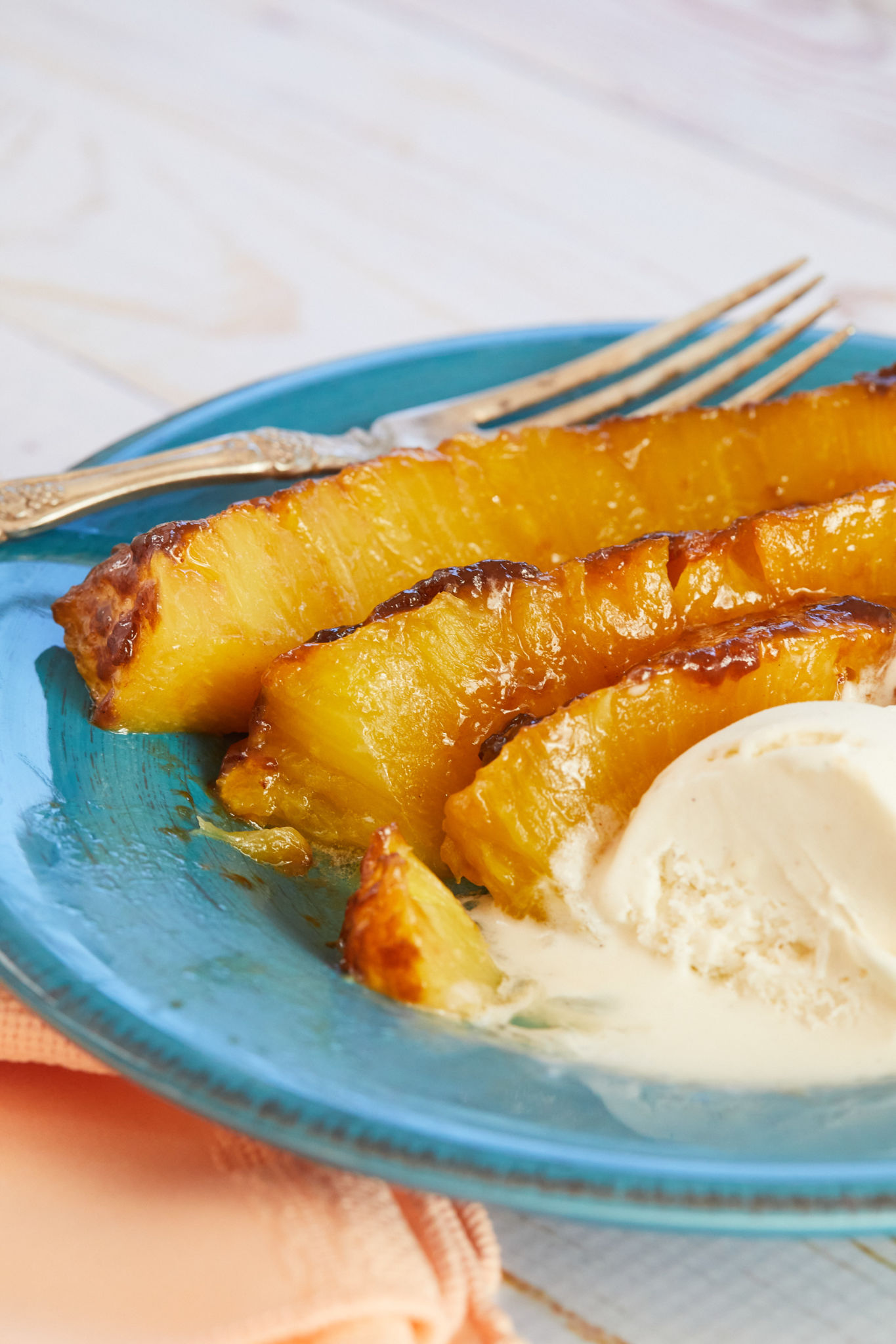 A plate of roasted pineapple showing texture and consistency.