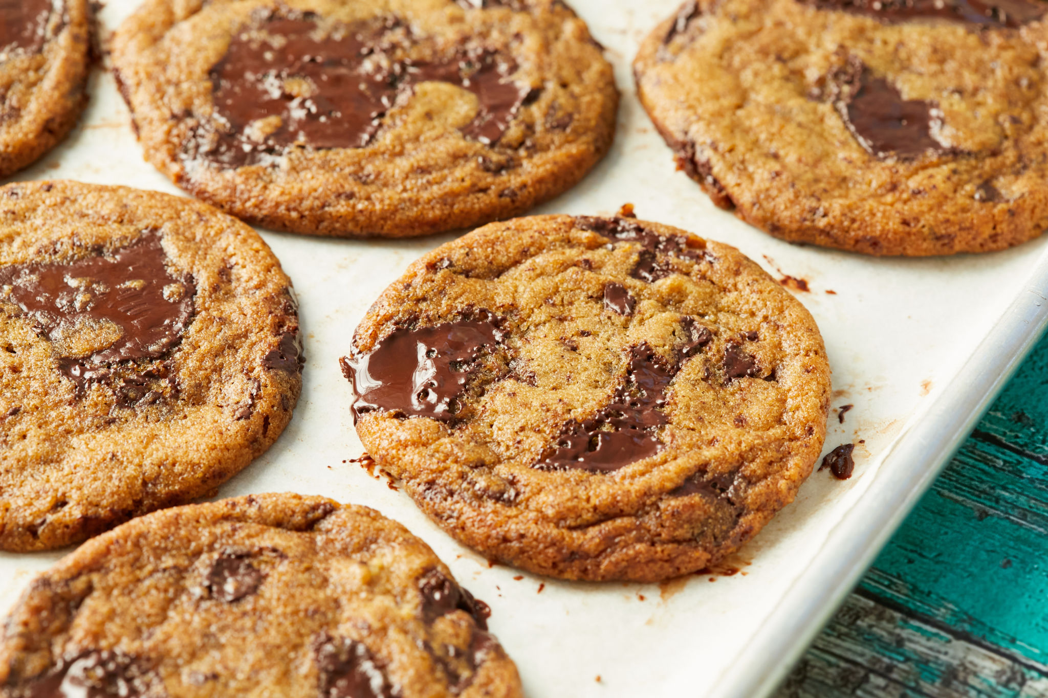 A tray full of chew chocolate chip cookies from my easy cookie recipe.