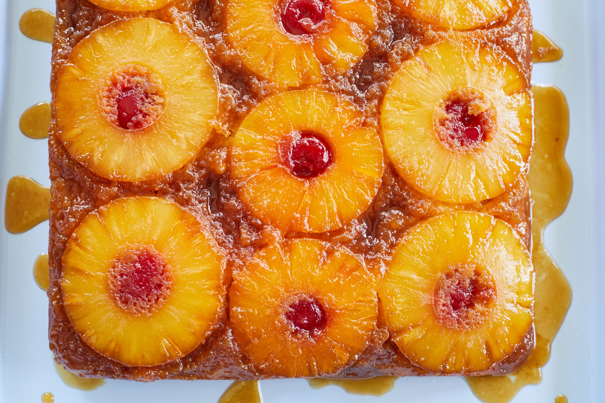 Top-down view of my pineapple upside down cake.